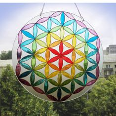 Hand painted glass suncatcher Mandala Flower of by ArwenFantasy