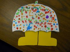 As a class we came up with a list of describing words for a rainy day. The students had to write two of those words on a raindrop in wh...