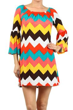 Chevron printed shift dress with 3/4th bell sleeves and elasticized neckline. Can be worn on or off the shoulder.