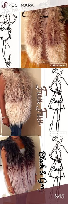 Fun, Fun Fur! Cream & Tan or Black & Gray🔥 FUN, FUN FUR VEST! Vest are fury feathery like. Have silky lining & hidden hooks. Vest stop @ upper hips. Have mocha & cream AND black & gray. Vest are OS, will fit a size Small or Medium. Cosb Jackets & Coats Vests