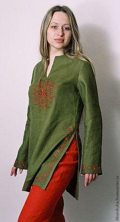 Купить Костюм брючный льняной Пион - авторская работа, туника, натуральные материалы, женская одежда