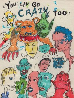 Artwork by Daniel Johnston Arte Indie, Indie Art, Pretty Art, Cute Art, Art Sketches, Art Drawings, Arte Grunge, Daniel Johnston, Arte Van Gogh