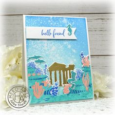 Handmade card by Julee Tilman using stamps and dies from the July 2020 My Monthly Hero Collection. #heroarts #mymonthlyhero #cardmaking #handmadecards #stamping #papercrafting Wave Stencil, Heart Bubbles, Liquid Watercolor, White Gel Pen, Hero Arts, My Stamp, Sticker Paper, I Card