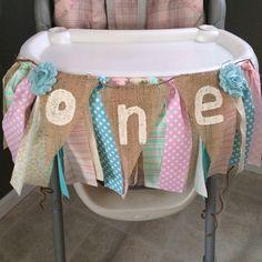 Shabby Chic fabric high chair banner #burlap #1st birthday -TLS