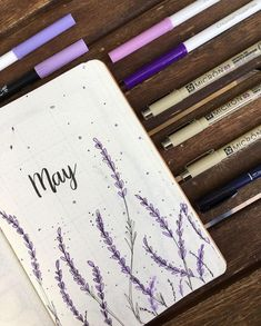 Bullet Journal Monthly Cover May Lavender Flowers Monthly Cover Monthly Overview L