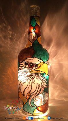 Hand painted bottle light. #Eagle #Freedom #BottleLight #Handmade #RandamArt