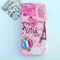 Paris iPhone case.... Cute girly phone case... Please note four corners are as shown in last picture... It was purchased that way... Material feels rubbery.. New never used.. Accessories Phone Cases