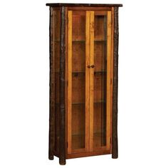 Amish Rustic Hickory Curio Cabinet with Doors ($899) ❤ liked on Polyvore featuring home, furniture, storage & shelves, display units, display shelving unit, door furniture, twig furniture, door shelving and handmade furniture