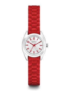 Caravelle New York by Bulova Womens 43L174 SilverTone Watch with Red Rubber Band *** You can get more details by clicking on the image.