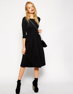 ASOS+Midi+Skater+Dress+in+Texture+with+3/4+sleeves