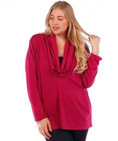 plus size cowl neck magenta cardigan #plussizetops #plussizecardigan #plussizefashion