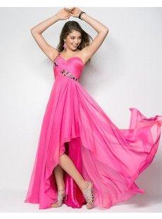 Sweetheart High Low Hemline Pleating Chiffon A Line Prom Dress