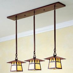 The generous sloping roof of this 3 light in-line chandelier echoes the silhouettes of classic bungalows.