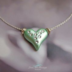 Joie Heart Pendant Necklace with Swarovski by LoveArtMusings, $20.00