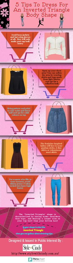 In this Infographic, we have explained about what is Inverted Triangle Body Shape and what you should wear if you have got Inverted Triangle Body Shape.For more information please visit www.stylewithcindy.com.au