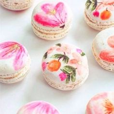Hand painted floral macarons from Sugar and Cloth!