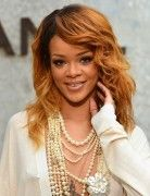 Rihanna Ombre Long Hairstyle: Curly Hair with Bangs