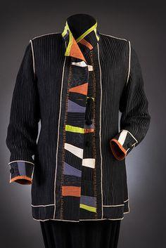 Shirts by Elizabeth Garver Quilted Sweatshirt Jacket, Quilted Jacket, Quilted Clothes, Sewing Clothes, Recycled Fashion, Moda Plus Size, Jacket Pattern, Mode Inspiration, Clothing Patterns