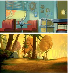 """The Iron Giant"" background art by Ruben Chavez - love the color palette. Very autumn, very Maine, very '50's :)"