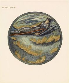 The Flower Book - Flame Heath By Sir Edward Burne-Jones 1905 Circular image. An armoured female figure sleeping on a heath. A spear and shield beside her.