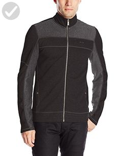 Calvin Klein Men's Long Sleeve Full Zip Color Blocked,  Black,  Large - Mens world (*Amazon Partner-Link)