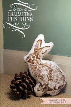 Adorable Bunny Rabbit Cushion by PerchedBird on Etsy