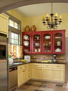 Classy Kitchen - love the red cabinets! Country Kitchen Designs, French Country Kitchens, Kitchen Country, French Kitchen, Country Bathrooms, Cottage Kitchen Cabinets, Kitchen Redo, Kitchen Ideas, Bungalow Kitchen