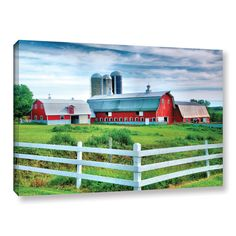 Red Barn, White Fence by Steve Ainsworth Photographic Print on Gallery Wrapped Canvas
