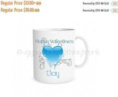 ON SALE ON Sale Valentine's Mug - Blue Heart Mug - Valentine's Coffee Mug - Valentine's Gift - Printed Coffee Mug - Heart Coffee Mug - Coffe by GypsyJunkClothing