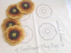 This listing is for the rug hooking pattern Sunflower Mug Rugs on your choice of cotton monks cloth or primitive linen. This is for the PATTERN ONLY, not the finished mats. A 4 x 6 photo and finishing instructions are included with the pattern. It does not include instruction on how to hook. These four sunflowers measure approximately 5 x 5 each and are hand drawn on the backing fabric approximately 20 x 20 to make it fit on most rug hooking lap frames or in a 14 hoop. The raw edges of the…
