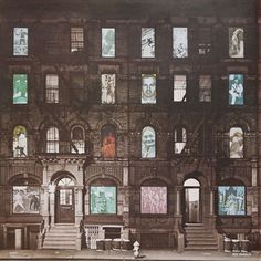 "Led Zeppelin's ""Physical Graffiti"" Album Cover Photo Building Location Iconic Album Covers, Classic Album Covers, Led Zeppelin Physical Graffiti, Led Zeppelin Vinyl, Punk, Great Bands, Cover Photos, Rock N Roll, Physics"