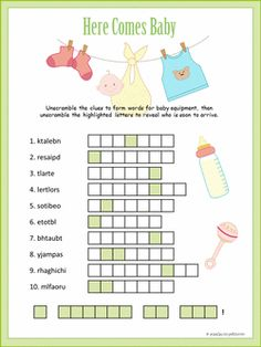 Our baby shower word scramble includes a secret message about the wee one in the diaper. Cute graphics make this a great party game. Free Baby Shower Printables, Baby Shower Templates, Baby Shower Activities, Baby Shower Invitation Templates, Free Printable, Baby Shower Wording, Baby Shower Fun, Baby Shower Parties, Shower Party