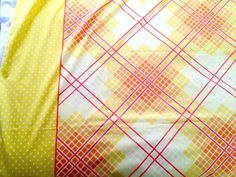 70's Fieldcrest Perfection Twin Flat Sheet - Yellow and White Dots with Geometric Plaid Center by ElkHugsVintage on Etsy