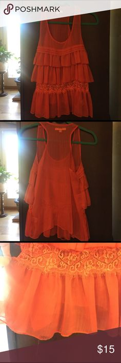 Ya Los Angeles tank Ya Los Angeles ruffle and lace sheer tank. Size S. Worn once. Small run on front, see photos. Great condition. Smoke free home. Ya Los Angeles Tops Tank Tops