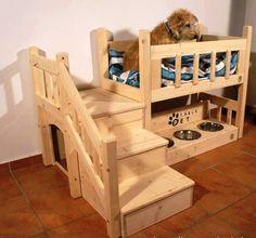 casa y cama para perro original con escaleras