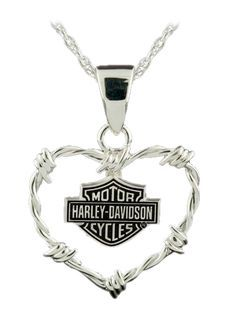 I find this Harley-Davidson Womens Barbed Wire Heart Sterling Silver Necklace absolutely stunning. A beautiful piece of delicate jewelry that symbolises hard biking. It would be hard to find a better looking piece of Harley Davidson jewelry for women. Harley Gear, Motos Harley, Motor Harley Davidson Cycles, Harley Davidson Motorcycles, Harley Davidson Jewelry, Harley Davison, Delicate Jewelry, Cool Ideas, Sterling Silver Necklaces