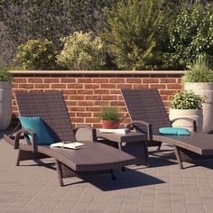 Whether you live somewhere its sunny year-round, or in a climate where its only warm in the summer, there's nothing better than sitting back and relaxing in the sun. Make the most of your outdoor space, and the warm weather, with this elegant three-piece chaise lounge set. A perfect choice for traditional ensembles, this set showcases a neutral brown finish and a breezy woven design. Crafted form all-weather wicker, this set includes two matching lounge chairs with reclining designs and one…