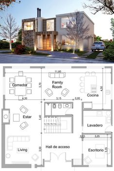 landscape architecture - 56 ideas house facade render home for 2019 House Layout Plans, House Layouts, Modern Architecture House, Architecture Plan, Modern House Floor Plans, Casa Patio, Casas Containers, Simple House Design, Sims House
