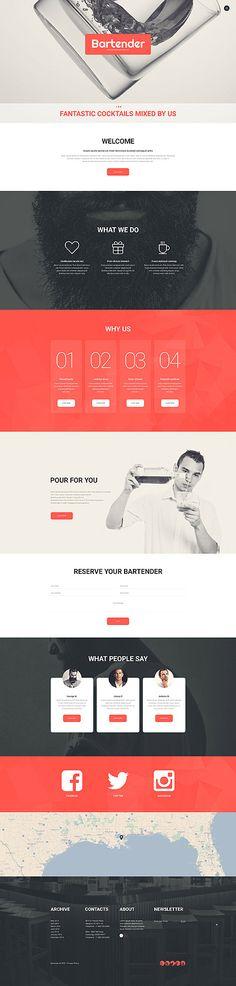 Template 56035 - Bartender Professional  Responsive Website Template