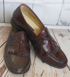 Stacy Adams Brown Genuine Leather Tassled Loafers Men's Size 12 #StacyAdams #LoafersSlipOns
