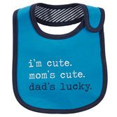 With water barrier lining, this soft bib will keep him clean and dry. Take it straight to the washer for easy clean up!