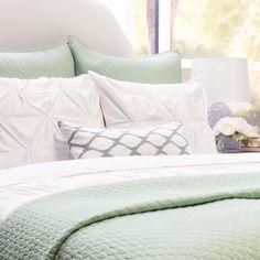 The Cloud Seafoam Green Quilt & Sham Green Bedding, Green Quilt, Bedroom Green, Green Rooms, Bedding Master Bedroom, Home Bedroom, Bedroom Decor, Bedding Decor, Seaside Bedroom