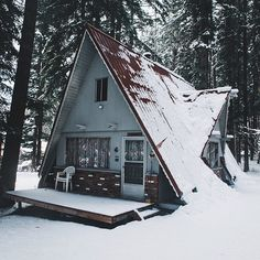 Add a dormer so we can have a window over the kitchen sink! Either start at the top of the roofline or at the first level. A Frame Tent, A Frame Cabin, A Frame House, Cozy Cabin, Cozy Cottage, Triangle House, Cabins And Cottages, Cabin Homes, Cabins In The Woods