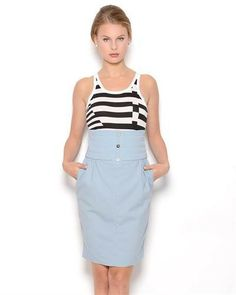 Karl Lagerfeld Quilt Waist Wool Skirt - Made in Italy
