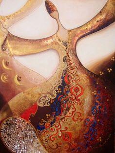 *Canan Berber, Turkish artist, b. Paisley Art, Dance Paintings, Islamic Patterns, Islamic Paintings, Arabic Art, Turkish Art, Handmade Books, Calligraphy Art, Islamic Art