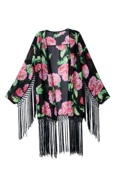 KCLOTH Batwing Boho Style Kimono Cardigan With Tassel in Black