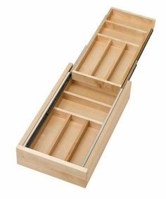 "Rev-A-Shelf Double Tiered Cutlery 11-1/2in Wood by Rev-A-Shelf. $102.26. 11-1/2"" W x 21"" D x 3-3/4"" H. Unique design provides two tiers for double the storage capacity. Top tier operates on 100 lb full-extension ball bearing slide. Minimum height opening 4-1/2"" (for drawer slide clearance). No drawer box needed. Just add a drawer front and a Blum Tandem B562F 5330B slide"