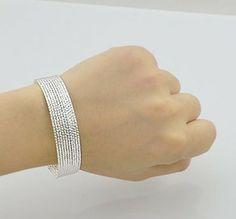 Cool 925 Sterling Silver Charm Bangle Bracelet For Lady