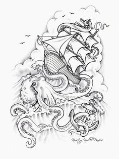 Ship And Octopus Tattoo Design
