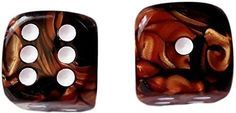 Custom & Unique {Large Size 20mm} 2 Ct Pack Set of 6 Sided [D6] Square Cube Shape Playing & Game Dice w/ Rounded Corner Edges w/ Fancy Agate Pearl Two Tone Metallic Design [Orange, Black & Whit]